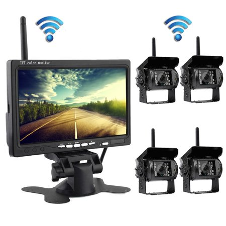 Podofo Wireless 4 Backup Cameras with 7 Inch Car Rear View Monitor for RV/Box Truck/Trailer/Tractor/Semi-Trailer/ Video Cameras Parking Assistance System