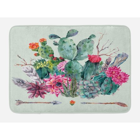 Cactus Bath Mat, Spring Garden with Boho Style Bouquet of Thorny Plants Blossoms Arrows Feathers, Non-Slip Plush Mat Bathroom Kitchen Laundry Room Decor, 29.5 X 17.5 Inches, Multicolor, - Garden Bath Mat