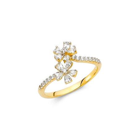 Womens 14K Solid Gold 5 Petal Flower Cubic Zirconia Fancy Ring, Size - 5 Five Golden Rings