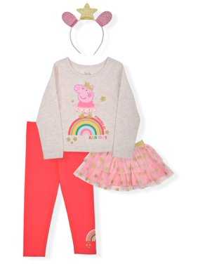 Peppa Pig Baby Girls & Toddler Girls Roleplay Long Sleeve Top, Leggings, Tutu Skirt & Headband, 4pc Outfit Set (12M-5T)