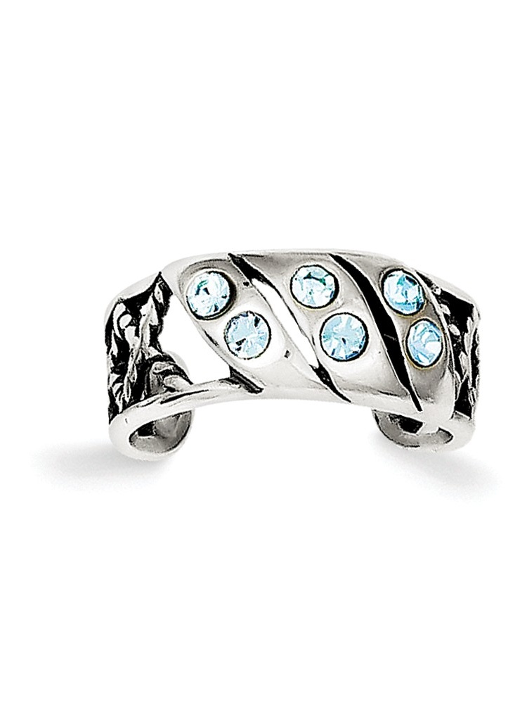 Sterling Silver Antiqued Blue Stellux Crystal Toe Ring