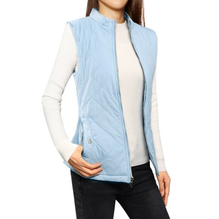 Women's Zip Up Stand Collar Slant Pockets Quilted Padded Vest Blue (Size L / 12)