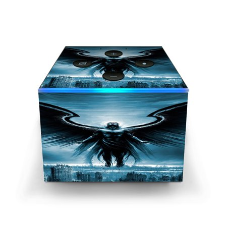 Skins Decals for Amazon Fire TV CUBE + REMOTE / dark angel wings over city - Tv Wigs