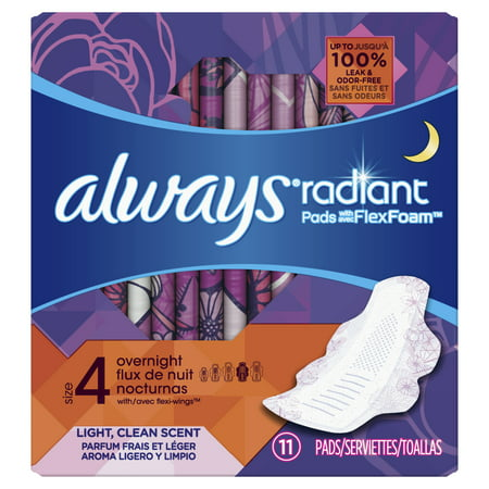 Always Radiant Overnight Pads, Size 4, Light Clean Scent, 11
