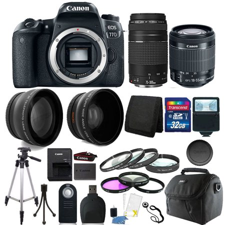 Canon EOS 77D 24.2MP Built-In Wi-Fi DSLR Camera + 18-55mm 75-300mm + 32GB Top Accessory Bundle