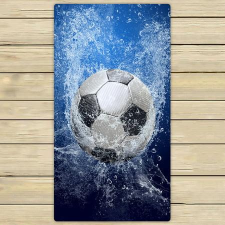 PHFZK Sports Towel, Football Soccer Ball on Water Hand Towel Bath Bathroom Shower Towels Beach Towel 30x56 - Football Towel