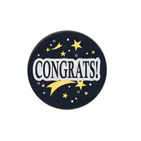 """Pack of 6 Black, Gold and White """"Congrats"""" Satin Button Graduation Accessory 2"""""""