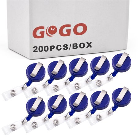 262d685d0a4 GOGO Wholesale Retractable Name Tag Holder Reel Key Clip-Solid Blue-200 PCS  - Walmart.com
