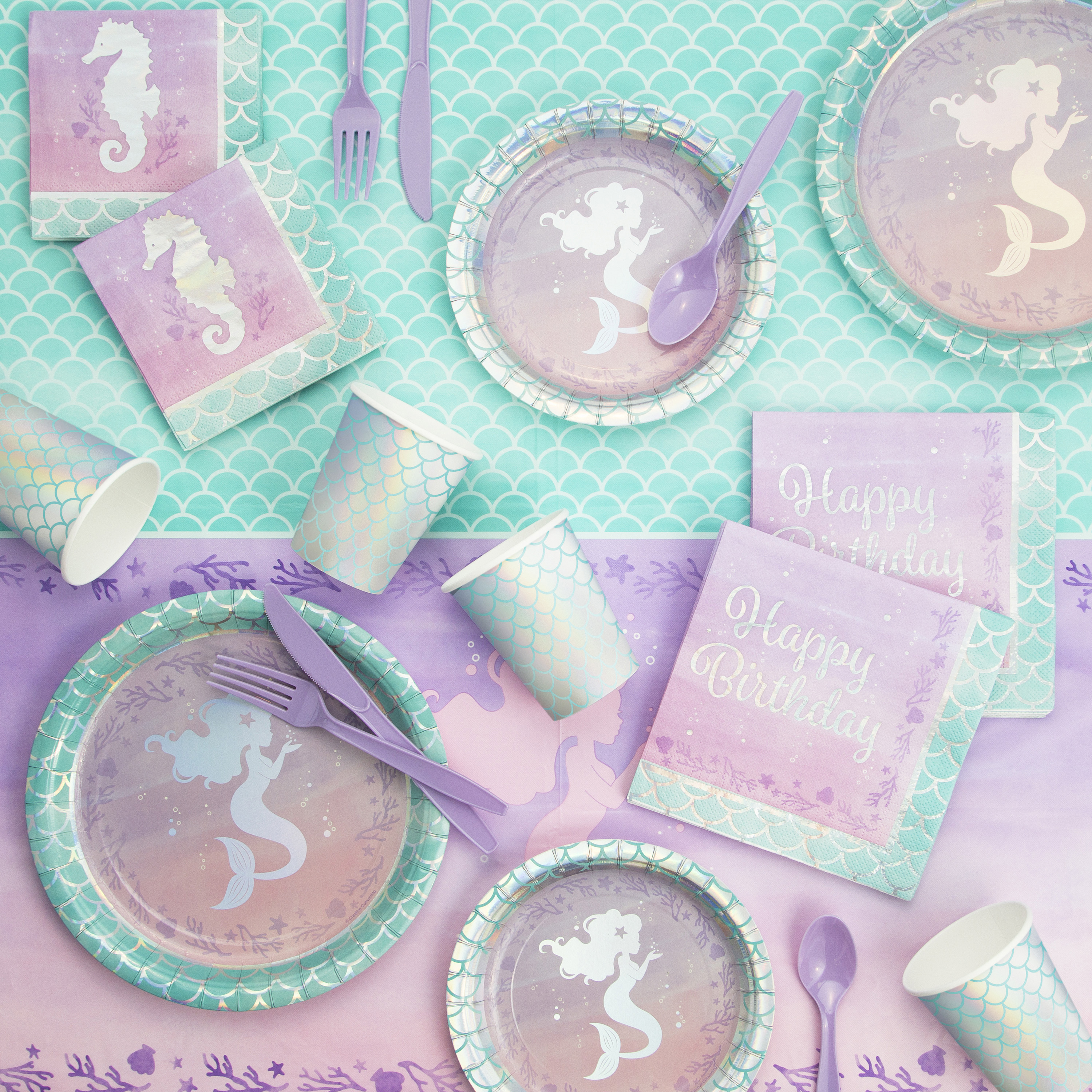 Iridescent Mermaid Party Birthday Party Supplies Kit