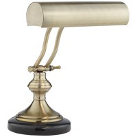 Regency Hill Traditional Piano Banker Desk Lamp LED Adjustable Black Marble Base Antique Brass Shade for Office Table