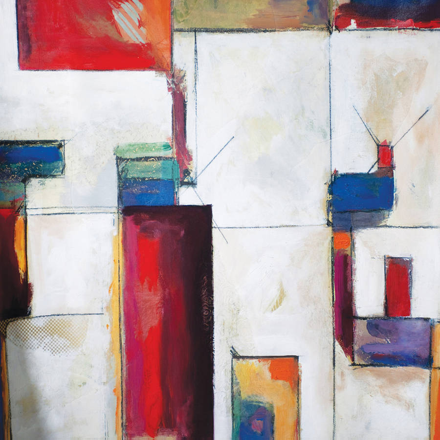 """Portfolio Canvas Decor """"Colorblock 2"""" Framed and Stretched Large Wall Art"""