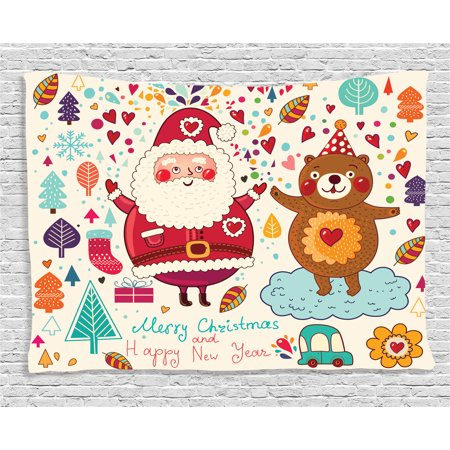 Christmas Decorations Tapestry, Santa and Teddy Bear Vintage Christmas Ornaments Party Kids Nursery Decor, Wall Hanging for Bedroom Living Room Dorm Decor, 60W X 40L Inches, Multi, by - Teddy Bear Nursery Decor