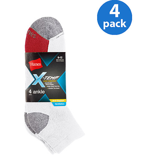 Hanes Men's 4 Pack X-Temp Arch/Ventilation Ankle  Socks