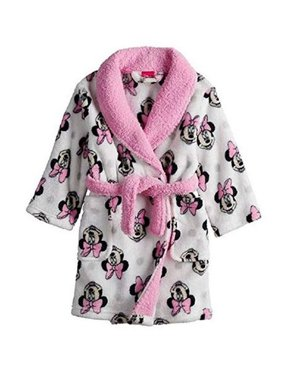 Product Image Disney Little Girls White Pink Minnie Print Shawl Collar  Belted Robe 7a1685d2c