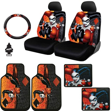 (New Design 10 Pieces DC Comic Harley Quinn Car Seat Covers Floor Mats and Steering Wheel Cover Set with Air Freshener)