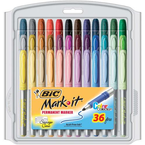 Bic Mark-It Permanent Markers Fine Point 36/Pkg-Color Collection