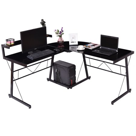 gymax l shaped glass computer desk office executive writing. Black Bedroom Furniture Sets. Home Design Ideas