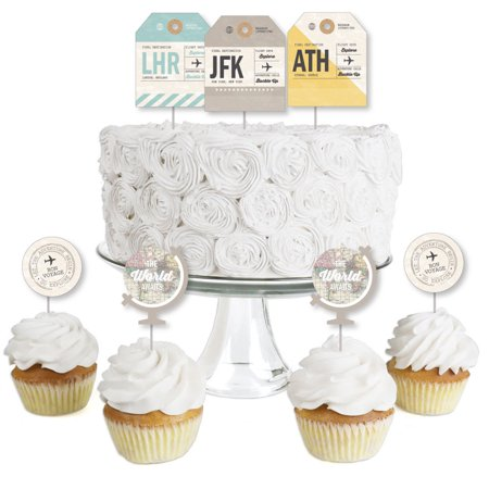 Cupcake Party Theme (World Awaits - Dessert Cupcake Toppers - Travel Themed Party Clear Treat Picks - Set of)