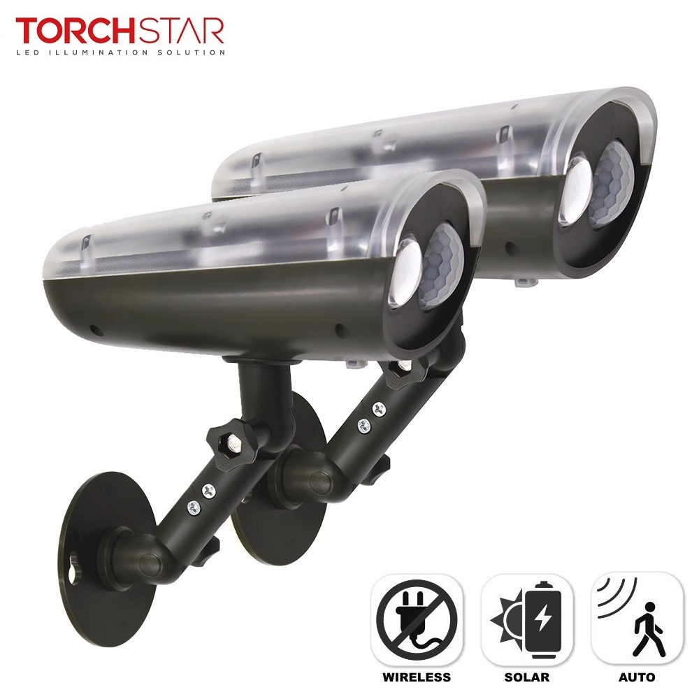 TORCHSTAR 2 Pack LED Solar Powered Outdoor Security Light with Motion Sensor, Waterproof Wireless Solar Wall Lights