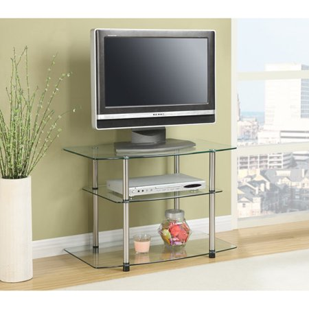 Convenience Concepts Designs2Go Glass and Steel TV Stand, for TV's up to 32″