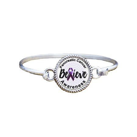 Pancreatic Cancer Awareness Believe Silver Plated Bracelet Jewelry