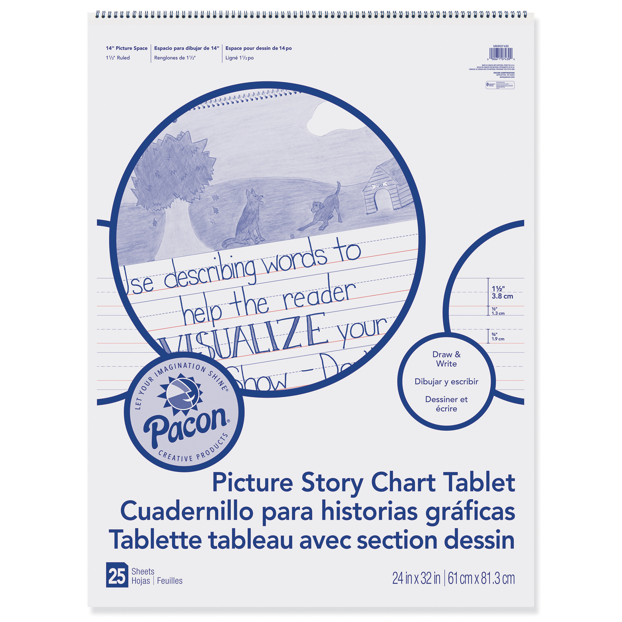 """Pacon Picture Story Chart Tablet, 1.5"""" x 3/4"""" x 1/2"""" Ruled, 24"""" x 32"""""""