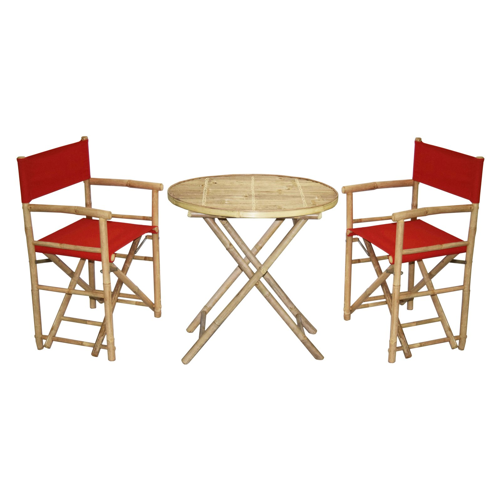 Bamboo54 Wood 3 Piece Round Patio Bistro Set With Director