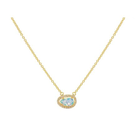 Fronay 551213G Mini Opal Pendant Necklace in Gold Over Sterling Silver - image 1 de 1