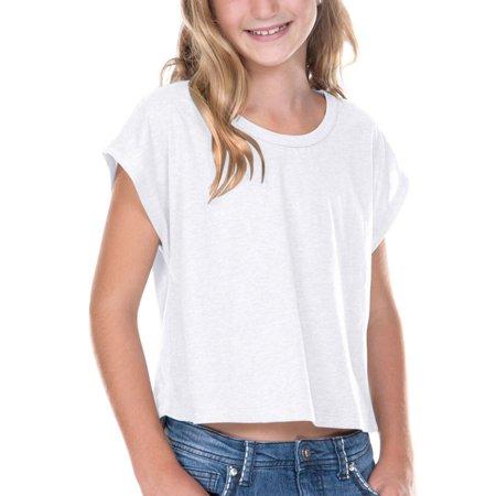 Kavio GJP0598 Girls 7-16 Jersey Boxy Crop Tee-White-M
