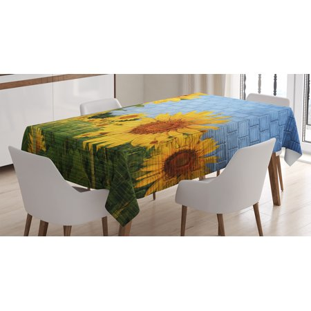 Rustic Home Decor Tablecloth, Sunflowers on Wall Peaceful Habitat Meadow Valley in Rural Village, Rectangular Table Cover for Dining Room Kitchen, 60 X 84 Inches, Yellow Green, by Ambesonne - Rustic Table Cloth