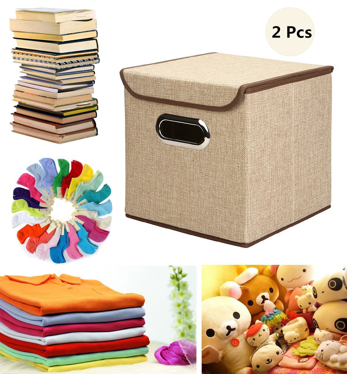 Zimtown 2 Pcs Storage Box Linen Fabric Foldable Basket Cube Organizer Bin Box Container Drawer with Lid - Great For Office Nursery Bedroom Shelf (Khaki)