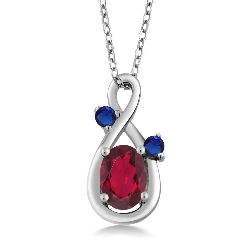 0.90 Ct Red Mystic Topaz Blue Simulated Sapphire 18K White Gold Pendant