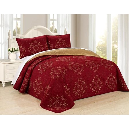All American Collection New 6pc Circle Reversible High Quality Embroidered Bedspread/Quilt Set ()