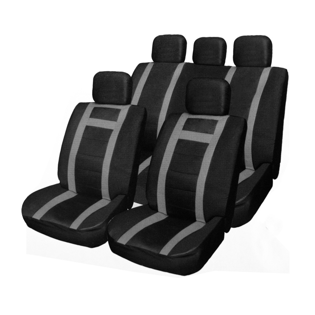 Universal PU Faux Leather Car Seat Cover Full Set Headrest Covers Gray Black