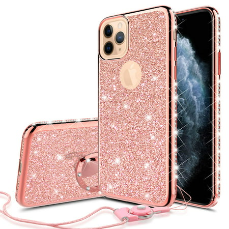 Apple iPhone 11 Pro Max Case for Girl Women, Glitter Cute Girly Ring Kickstand Diamond Rhinestone Bumper Pink Clear Shock Proof Protective Phone Case iPhone 11 Pro Max 6.5inch - Rose Gold Pro Cue Cases