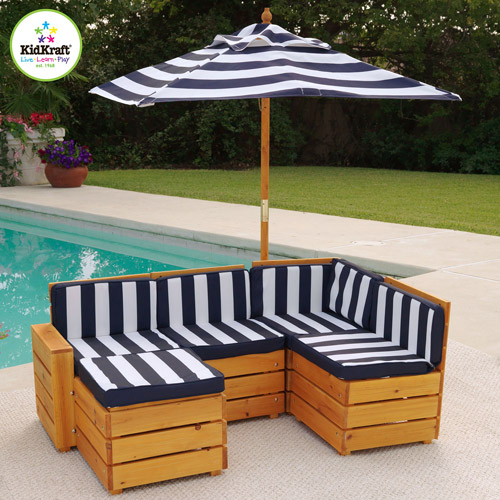 Beautiful KidKraft Kids Outdoor 5 Piece Sectional Seating Group With Cushions