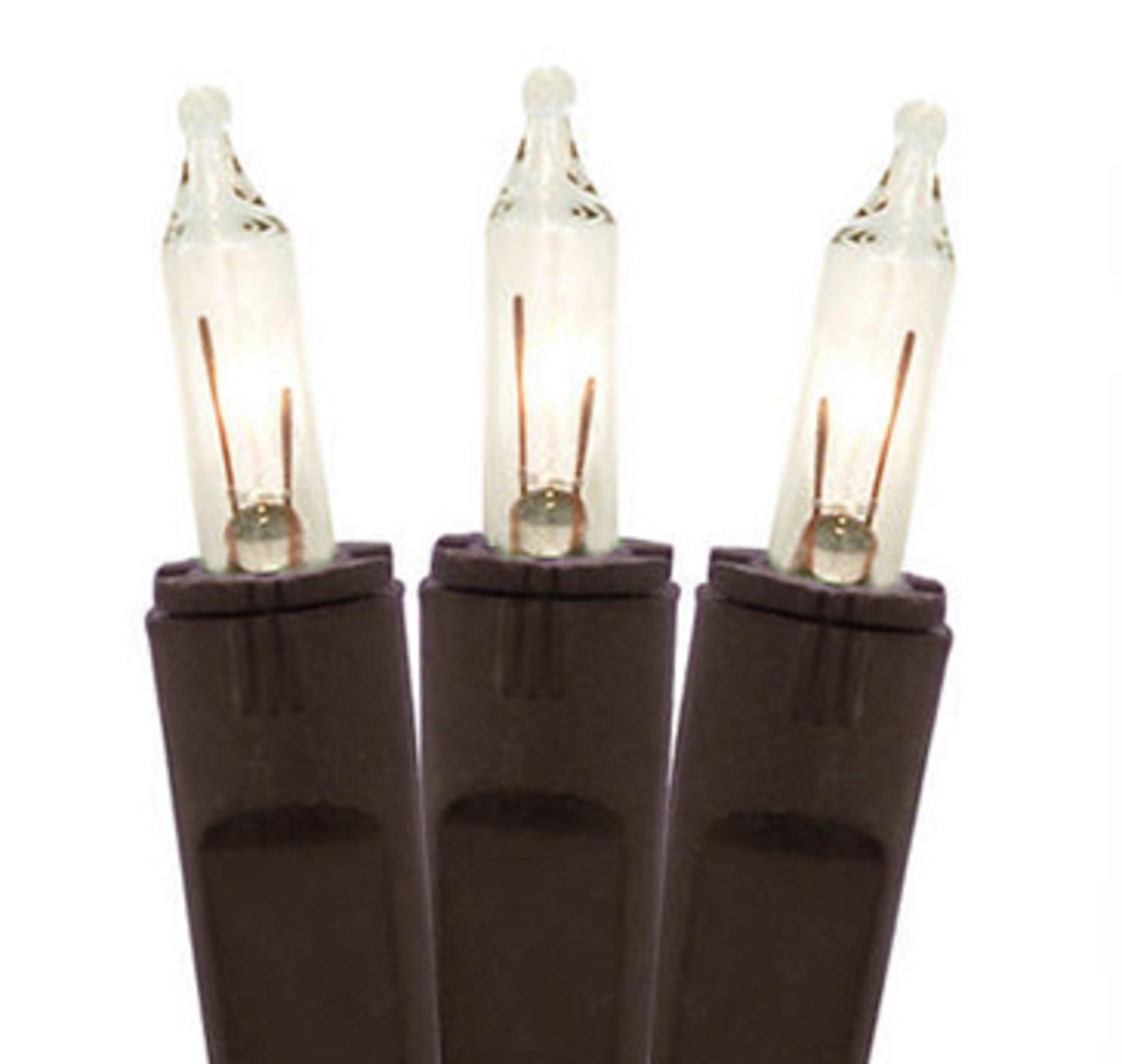 Set of 50 Clear Perm-O-Snap Mini Christmas Lights - Brown Wire