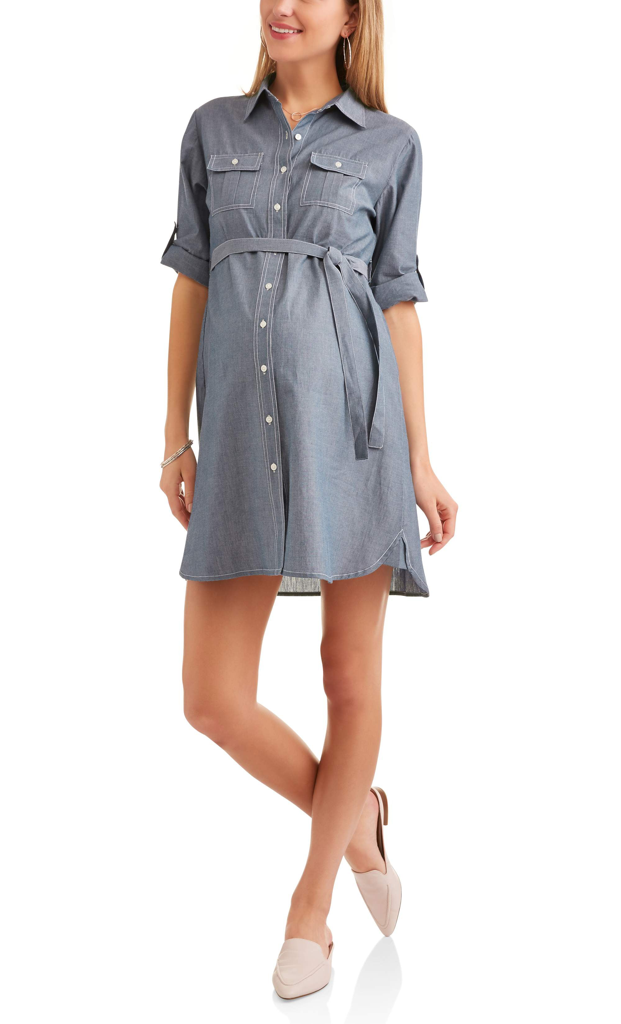 Oh! Mamma - Maternity Chambray Shirt Dress With Self Tie, Available ...