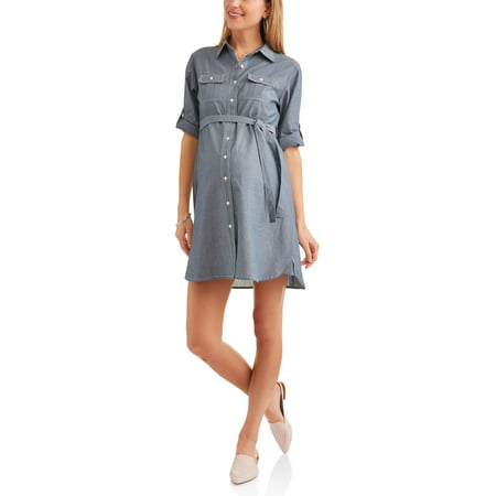 Maternity Chambray Shirt Dress With Self Tie, Available In Plus Size