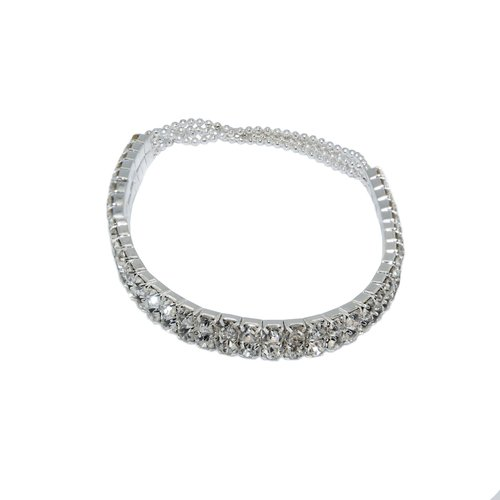 Silver-Tone Crystal Rhinestone Stretch Bracelet