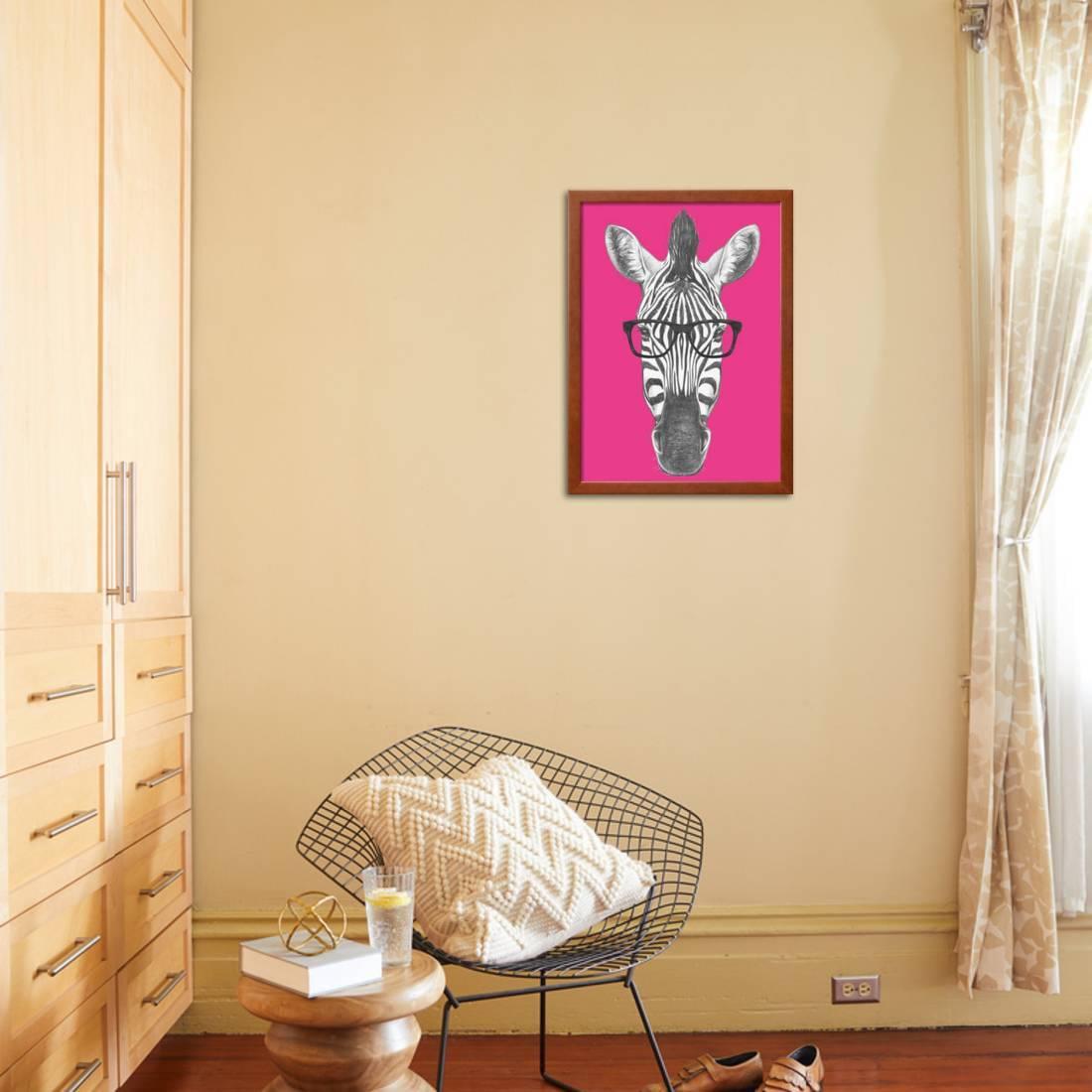 Portrait of Zebra with Glasses. Hand Drawn Illustration. Framed ...