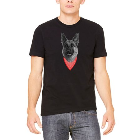 Men's Bandana German Shepherd KT B1272 Black T-Shirt Medium Black