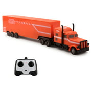 Vokodo RC Semi Truck And Trailer 18 Inch 2.4Ghz Fast Speed 1:16 Scale Electric Hauler Rechargeable Remote Control Kids Big Rig Toy Carrier Vehicle Cargo Transporter Great Gift For Children Boys Girls
