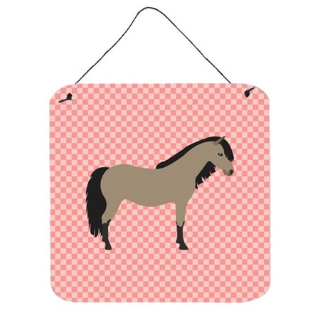 Pony Wall Hangings - Welsh Pony Horse Pink Check Wall or Door Hanging Prints, 6 x 6 in.