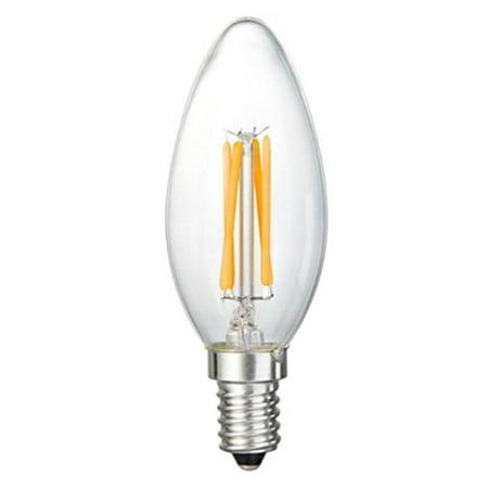 Brite Innovations Energy Saving LED Filament Candelabra Light Bulb - Dimmable - Soft White 2700K - Torpedo Tip - Exact Equivalent to Standard 40W Incandescent Chandelier Bulb (4 - Halloween Energy Saving Tips