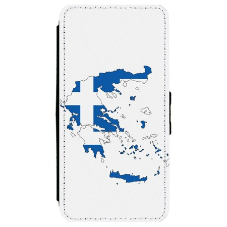 Image Of Country Flag Illustration of Greece Apple iPhone X Leather Flip Phone Case