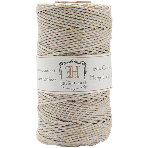 Hemptique Hemp Cord Spool 48 lb, 205 Ft/pkg, Natural