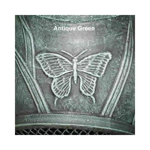 Outdoor Chiminea Fireplace Butterfly in Antique Green Finish (Gas Fueled) by The Blue Rooster