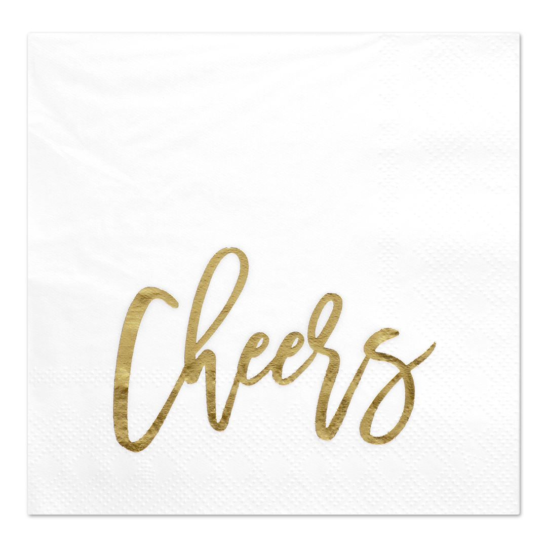 Koyal Wholesale Cheers, Funny Quotes Cocktail Napkins, Gold Foil, Bulk 50 Pack Count 3 Ply Napkins