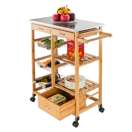 Kitchen Island Cart Trolley, Microwave Oven Stand Storage Cart on Wheel with 3 Storage Drawers, 2 Shelves, 3 Metal Baskets, Rustproof Pine and PVC Panels Microwave Cabinet with Storage, Q3496 ()